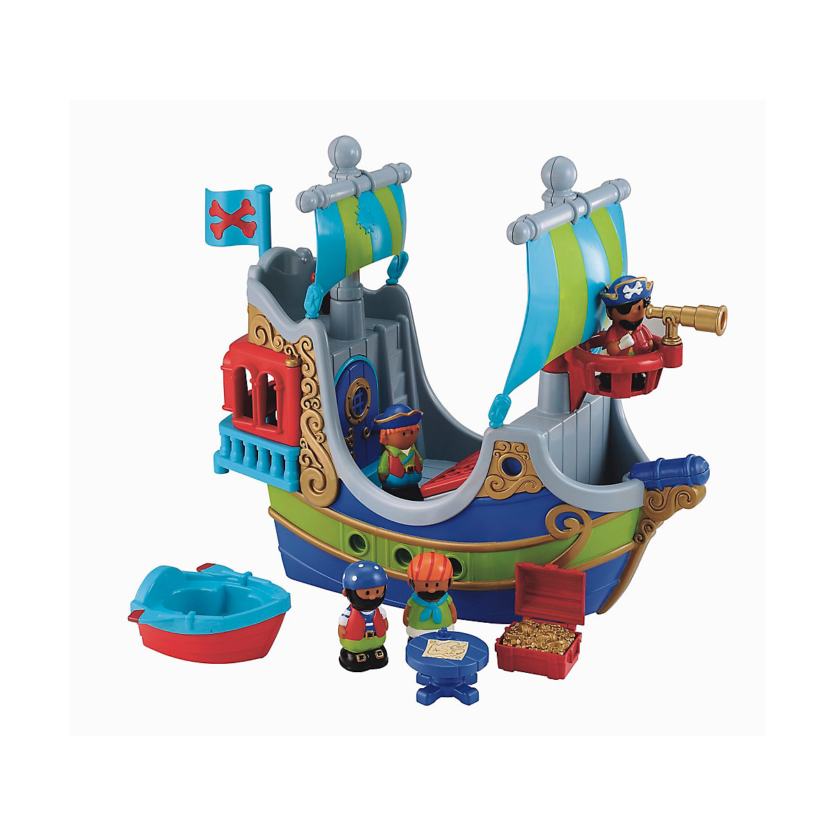 New HappyLand Boys and Girls Pirate Ship Playset Toy From 18 months