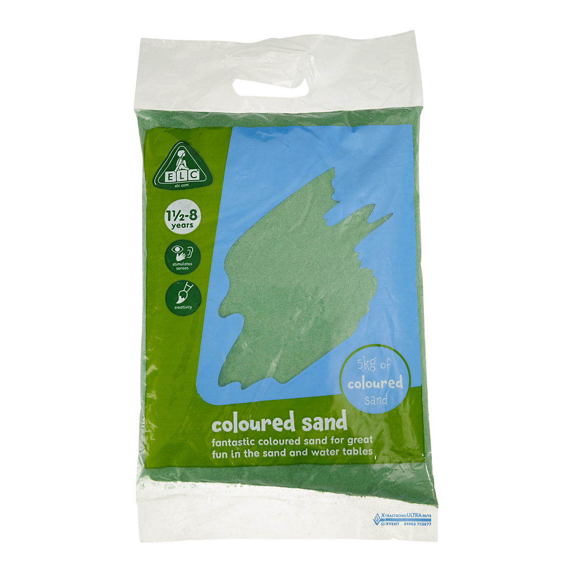 Green Coloured Play Sand   5kg Bag Toy From 18 Months