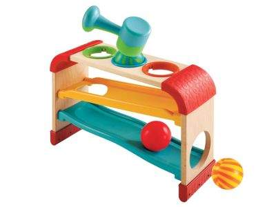 Wooden Tap and Tilt Roller Rack Toy From 12 months