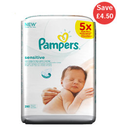 Pampers Sensitive Baby Wipes - 5 x 56 Pack
