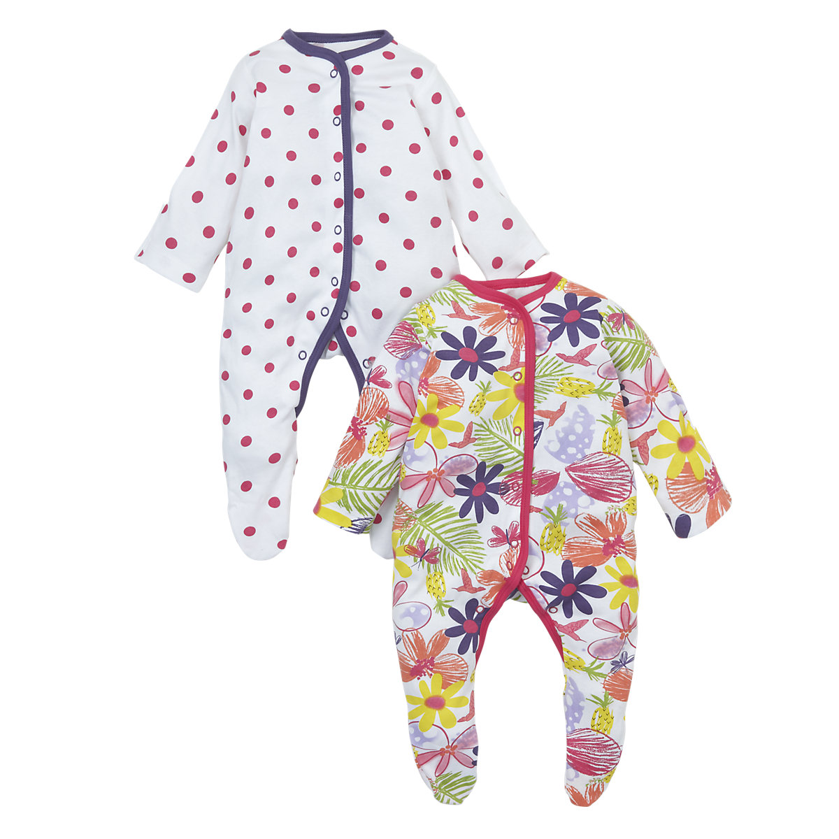 Mothercare Newborns Sleepsuits - 2 Pack Size 6-9 months