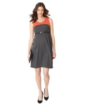 Grey And Coral Colour Block Belted Dress