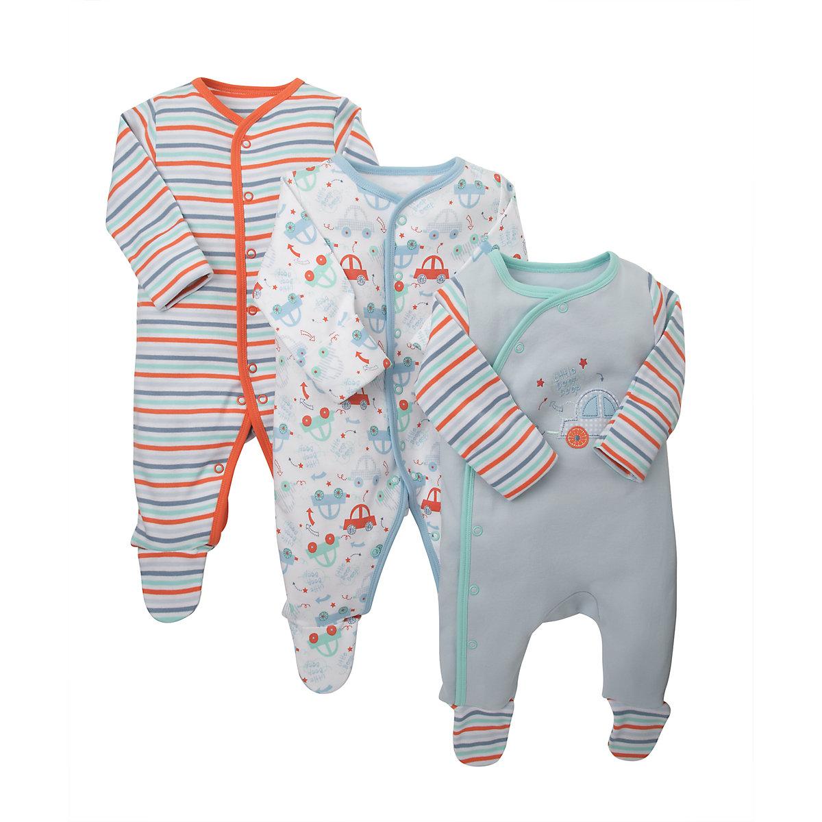 B Newborns Little Beep Beep Sleepsuits - 3 Pack Size tiny