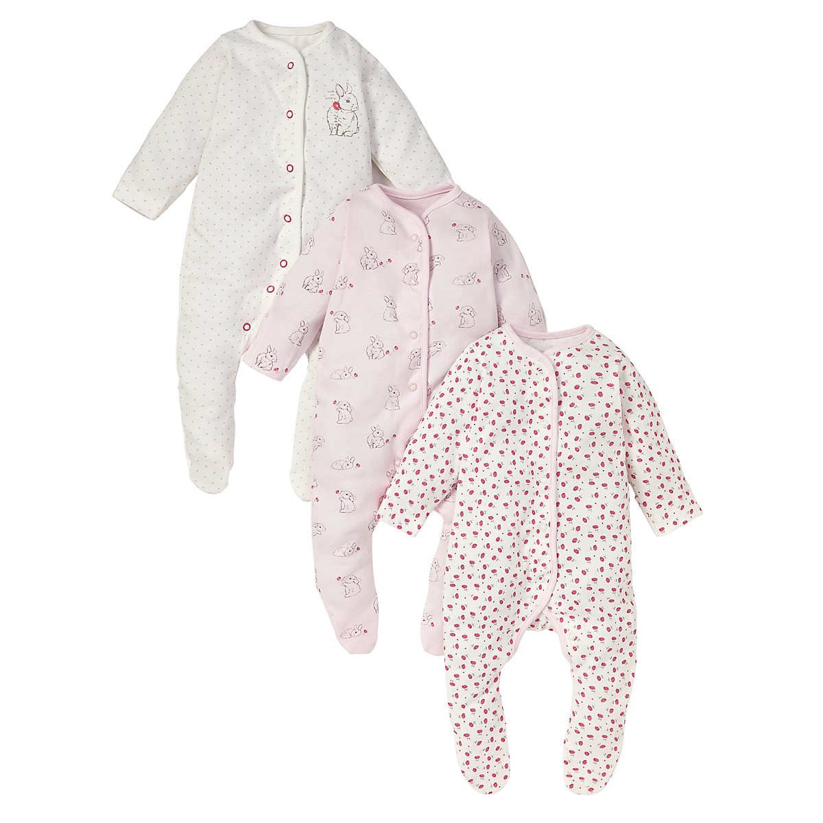 Mothercare Newborn Bunny Sleepsuits - 3 Pack
