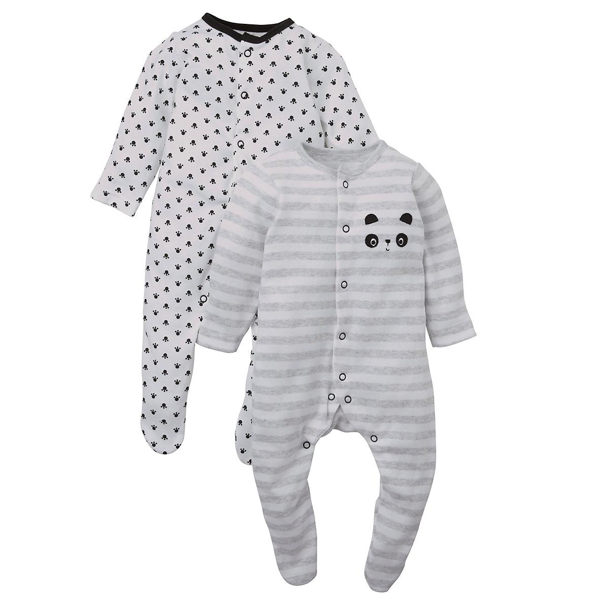 Mothercare Newborns Unisex Panda Sleepsuits - 2 Pack Size