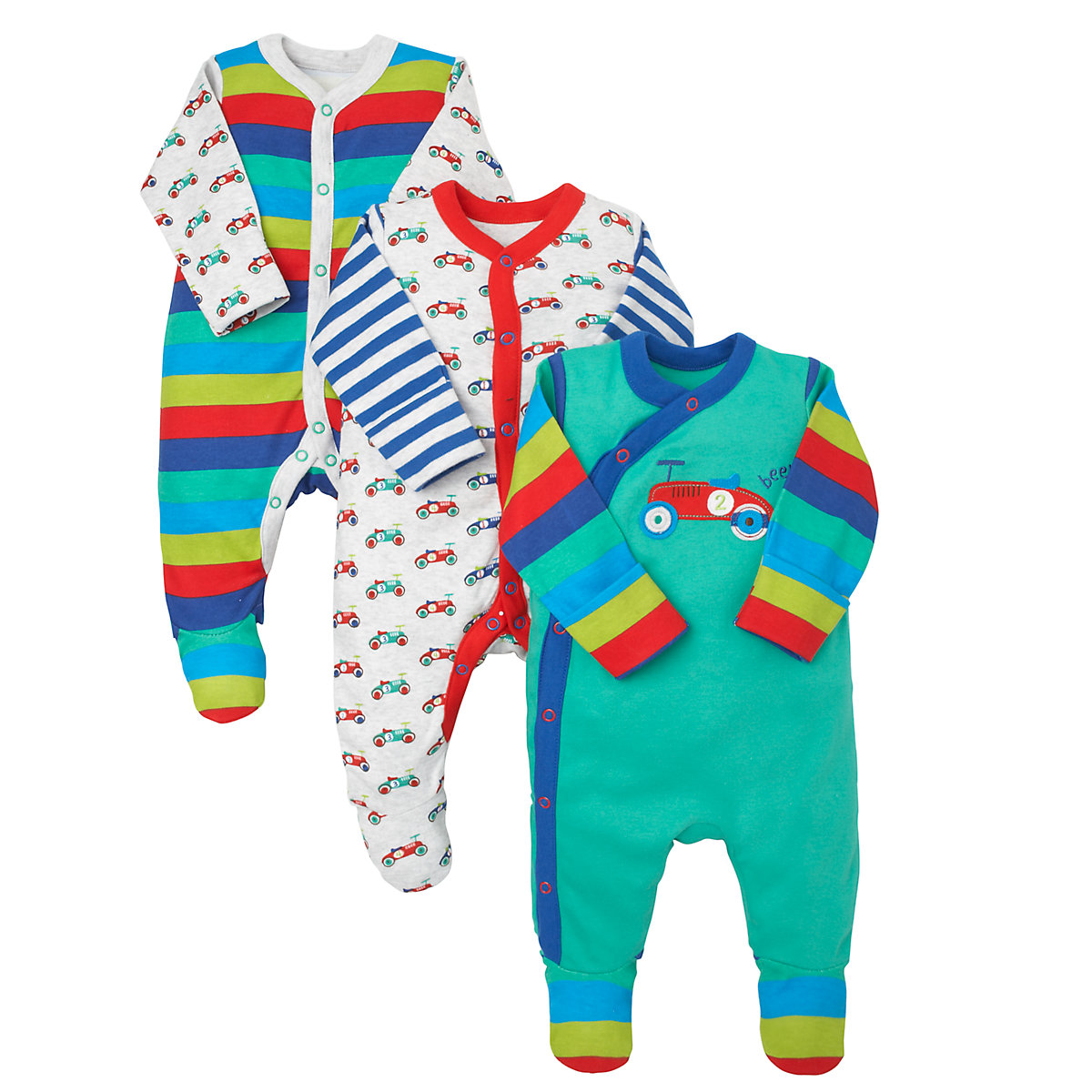 Mothercare Newborns Vintage Car Sleepsuits- 3 Pack Size 3-6