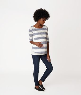 Maternity Blue and Cream Double Layer Nursing Top