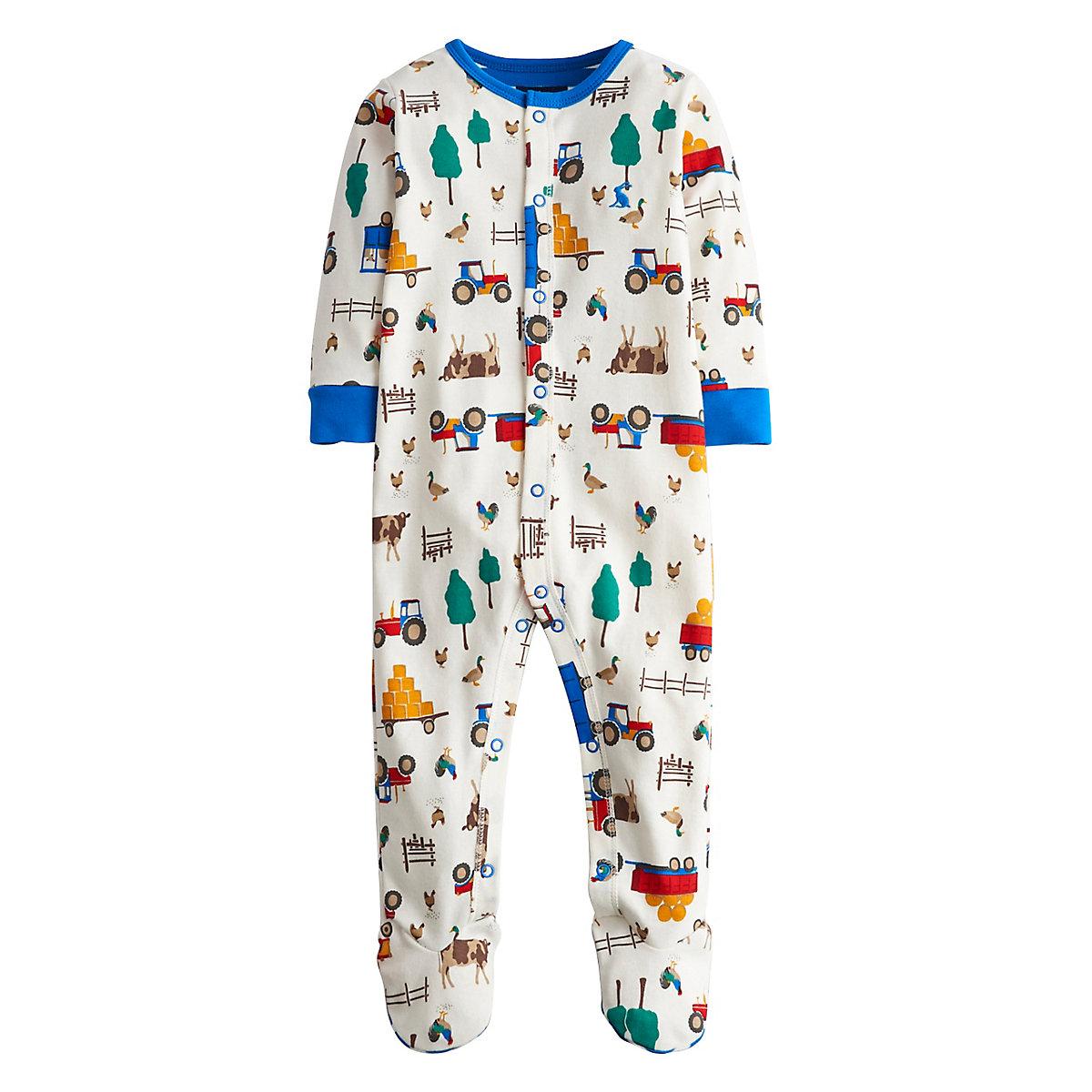 Joules Newborns Baby Farm Print Sleepsuit Size 9-12 months