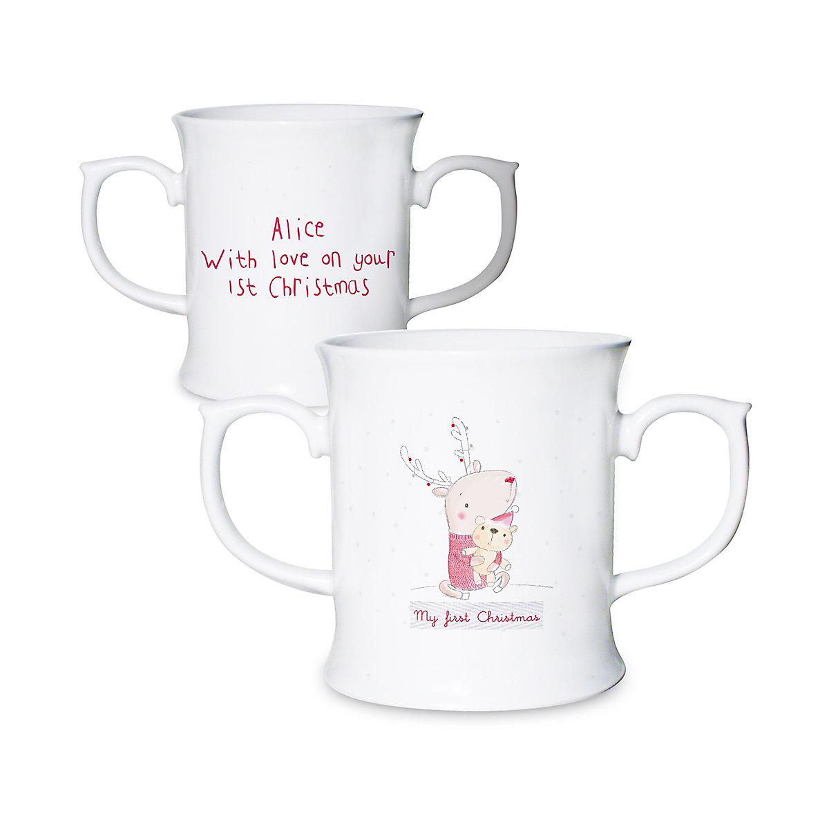 Personalised My First Christmas Reindeer Mug
