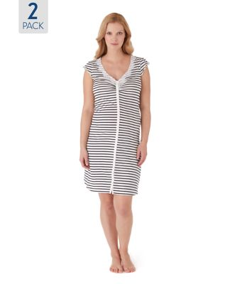 Stripe and Plain Maternity Nightdresses - 2 Pack