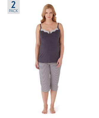 Maternity Cropped Pyjamas - 2 Pack