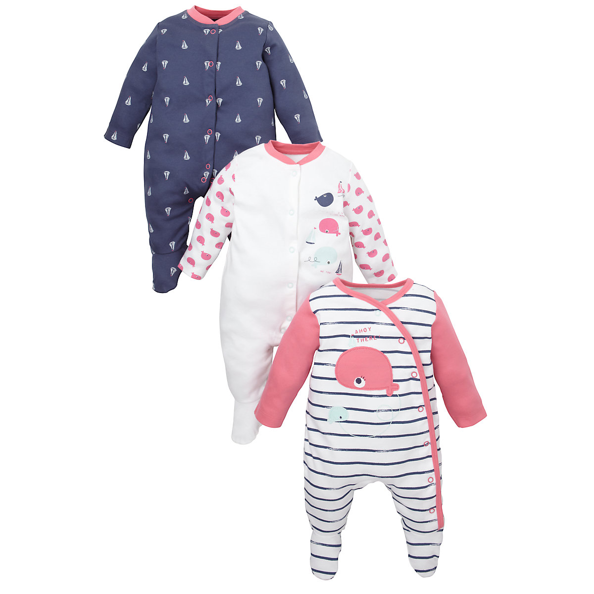 Whale and Boat Sleepsuits- 3 Pack