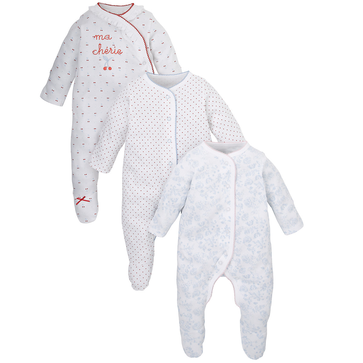 Mothercare Newborns Cherry Sleepsuits - 3 Pack Size 12-18