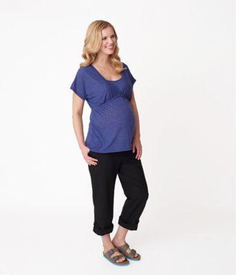 Linen Maternity Midbump Trousers - Black