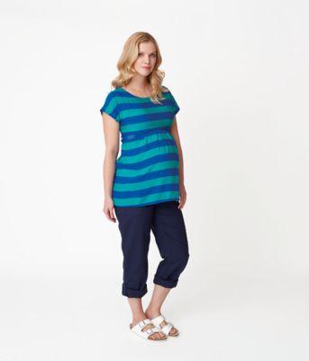 Linen Maternity Midbump Trousers - Navy