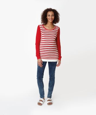 Maternity Red and White Stripe Jumper