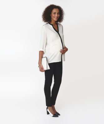 Maternity Cream Shirt with Black Placket