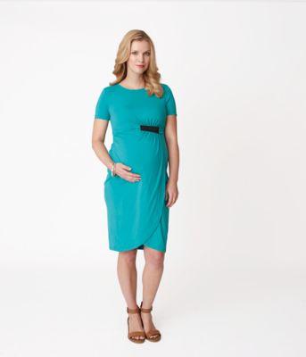 Maternity Green Elastic Tab Dress