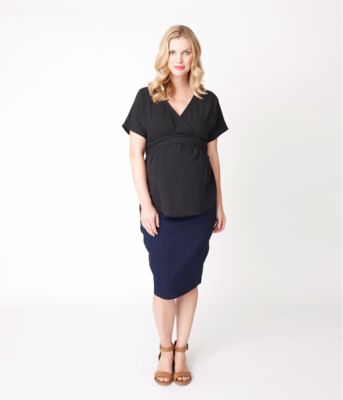 Maternity Marbled Denim Over The Bump Skirt