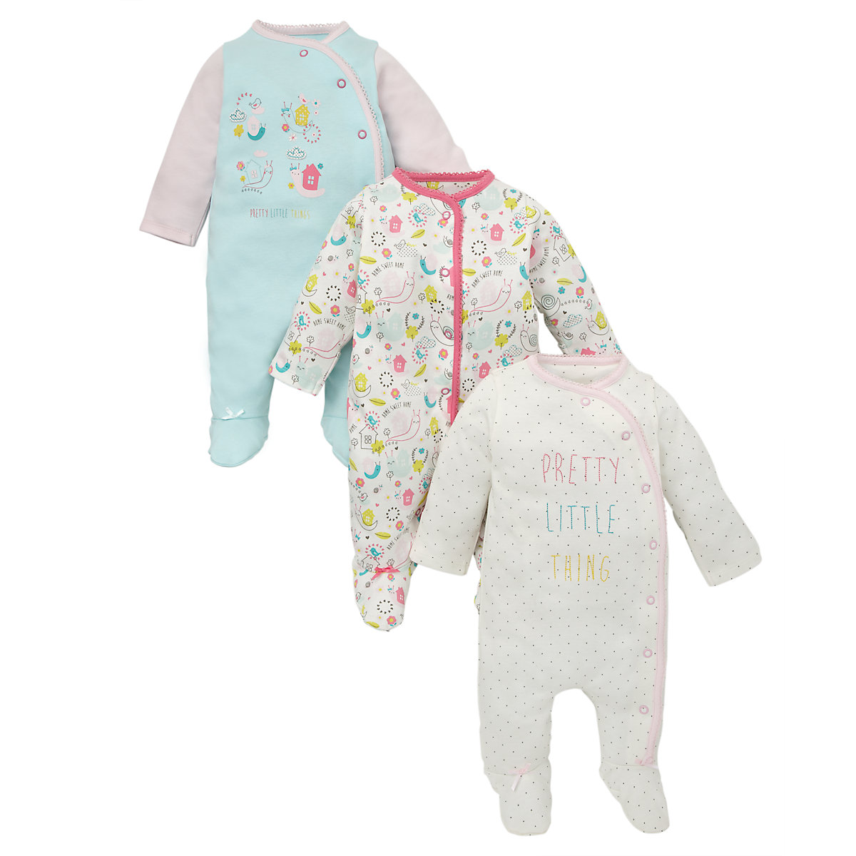 Snail Sleepsuits - 3 Pack