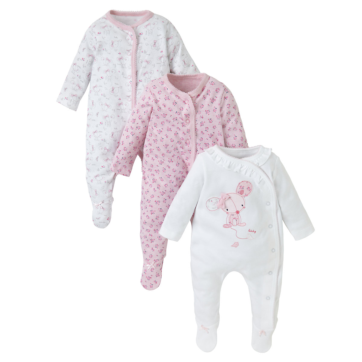 Mothercare Newborns Mouse Sleepsuits - 3 Pack Size tiny