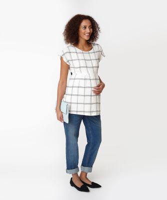 Maternity Grid Print Tie Back Top