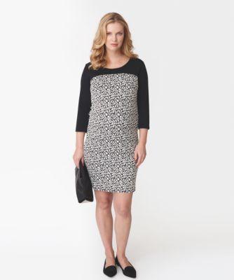 Mamalicious 3/4 Sleeve Monochrome Printed Jersey Dress