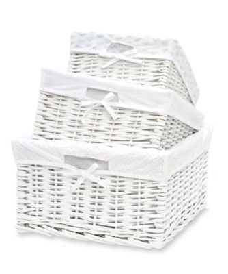 Wicker Storage Baskets Pack Cot Tidy Nappy Stacker
