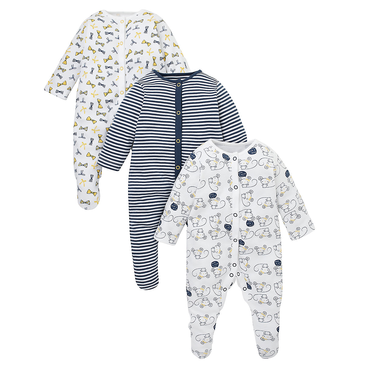 Mothercare Newborns Little Mouse Sleepsuits - 3 Pack Size