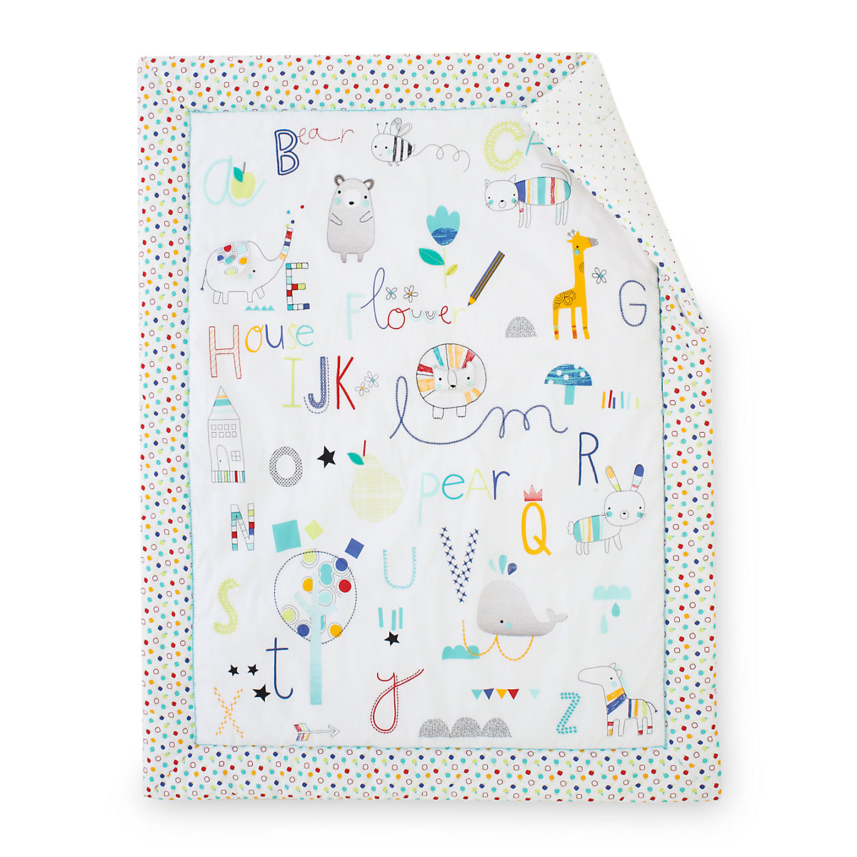 Baby bed quilt size - Image Is Loading B Baby Bedding Alphabet Brights Cot Bed Quilt