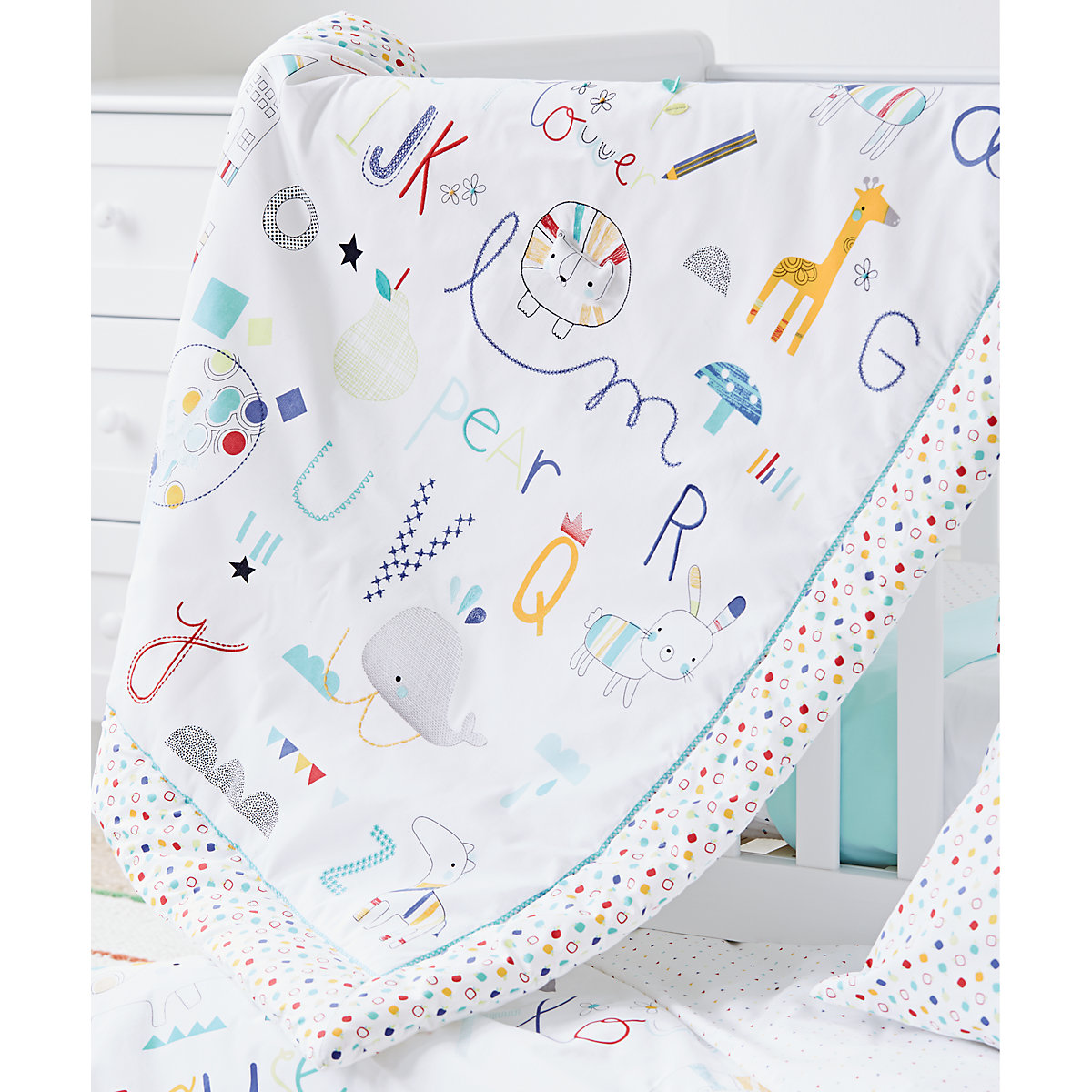 Baby bed quilt size - B Baby Bedding Alphabet Brights Cot Bed Quilt
