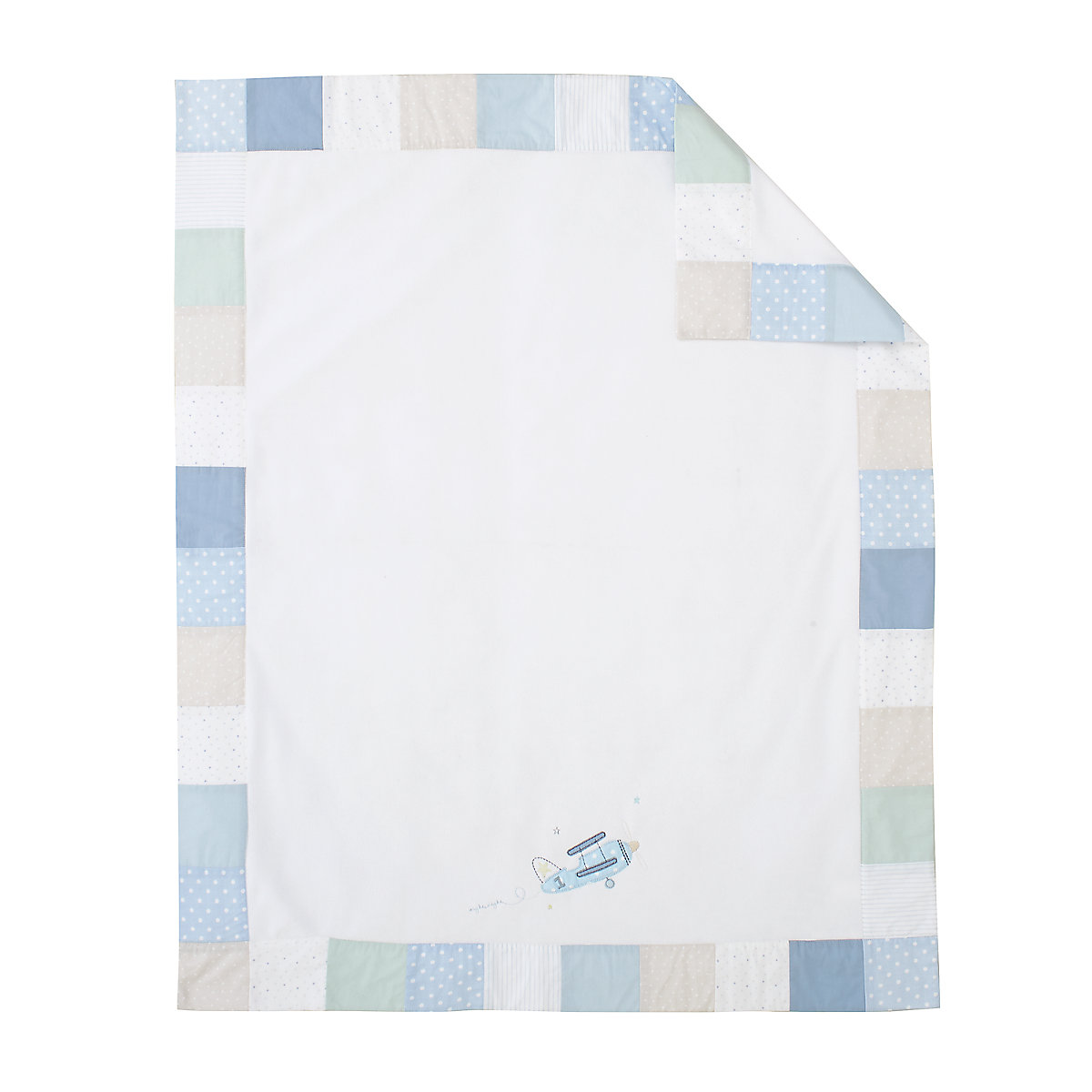 B Baby Bedding Little Voyage Patchwork Fleece Blanket Size