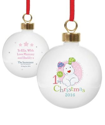 Personalised The Snowman and The Snowdog Christmas Bauble
