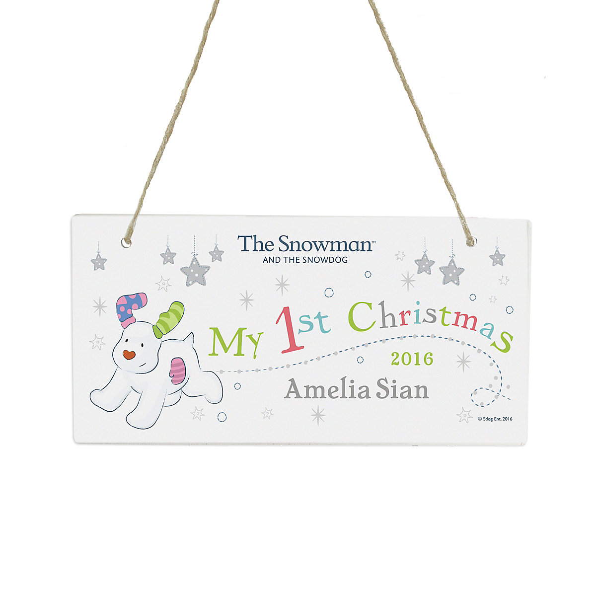 Personalised The Snowman and The Snowdog My 1st Christmas Rustic Wooden Sign