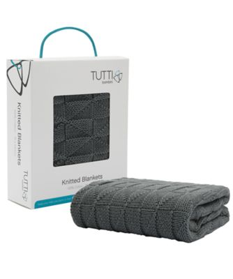 tutti bambini cozee® knitted blanket  charcoal