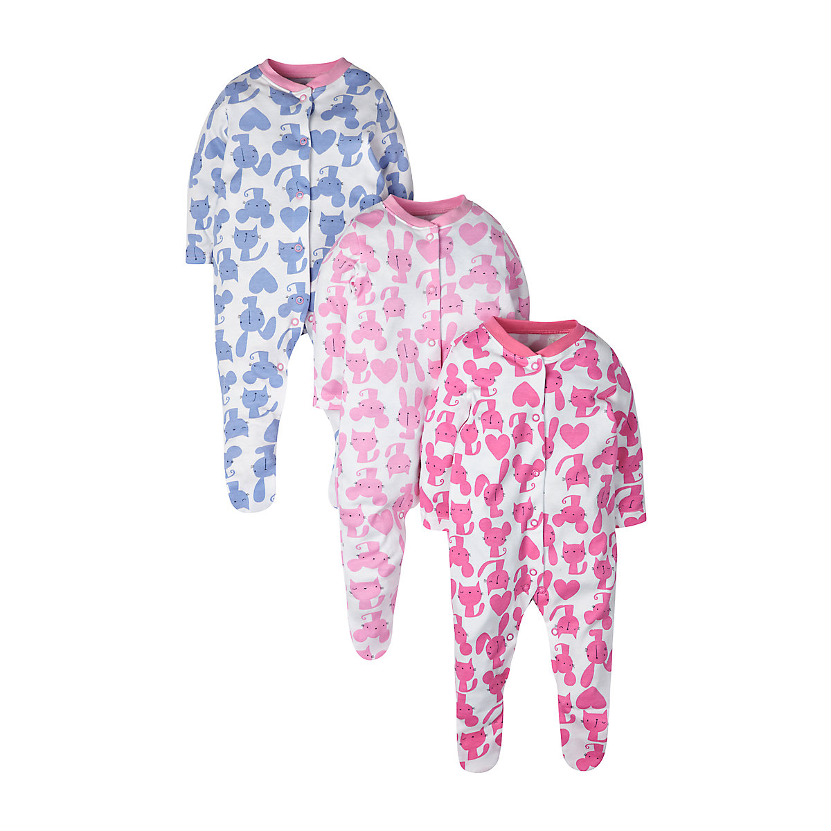 Mothercare Newborns Mouse. Cat and Rabbit Sleepsuits - 3