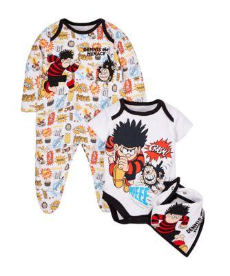 Dennis the Menace Sleepsuit, Bodysuit and Bandana bib set