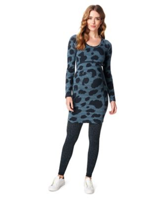 Supermom Leopard Print Knitted Maternity Dress
