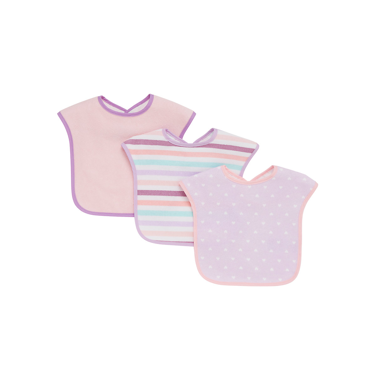 mothercare pink. hearts and stripes towelling bibs - 3 pack