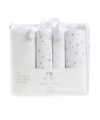 mothercare travel cot starter set  white and grey