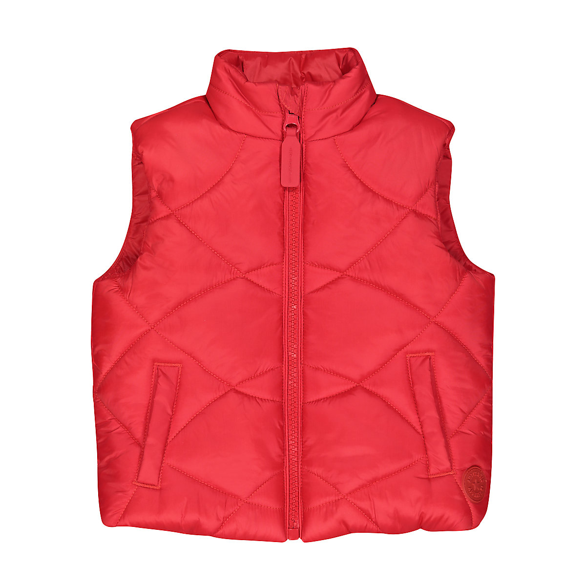red padded gilet