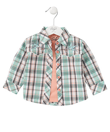 Baby K Long Sleeve Check Blouse And T-shirt Set
