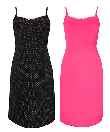 Maternity Black And Hot Pink Spot Flippy Nightdress - 2pk
