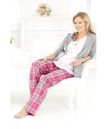 Mothercare Maternity Check Pyjama With Plain Hoody