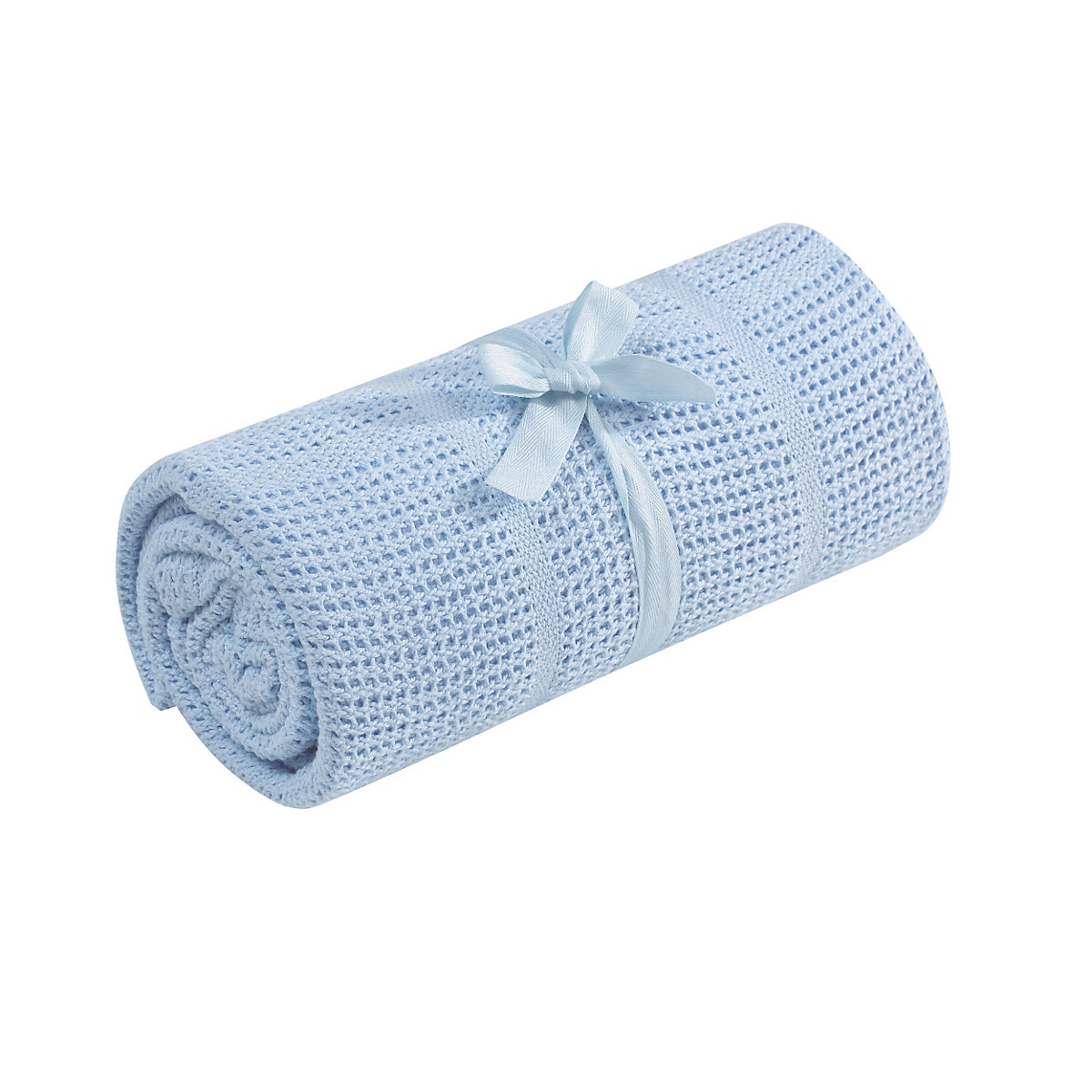 B Baby Cot or Cot Bed Cellular Cotton Blanket- Blue Size