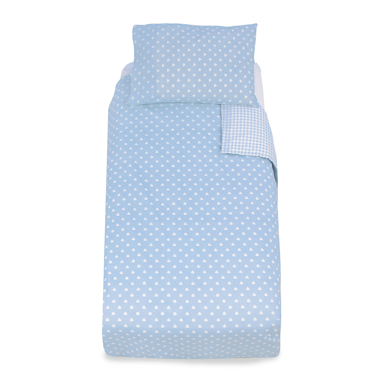 Mothercare Essential Cot Bed Pillowcase and Duvet Set- Blue