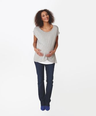 Dark Wash Over The Bump  Boot Cut Longer Length Maternity Jeans