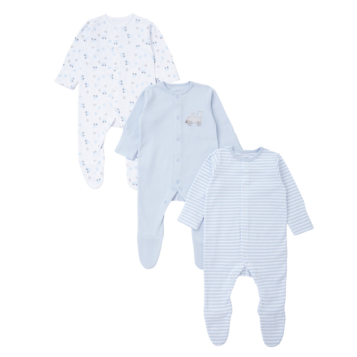 Mothercare Newborns Train Sleepsuits - 3 Pack Size 2-3 years