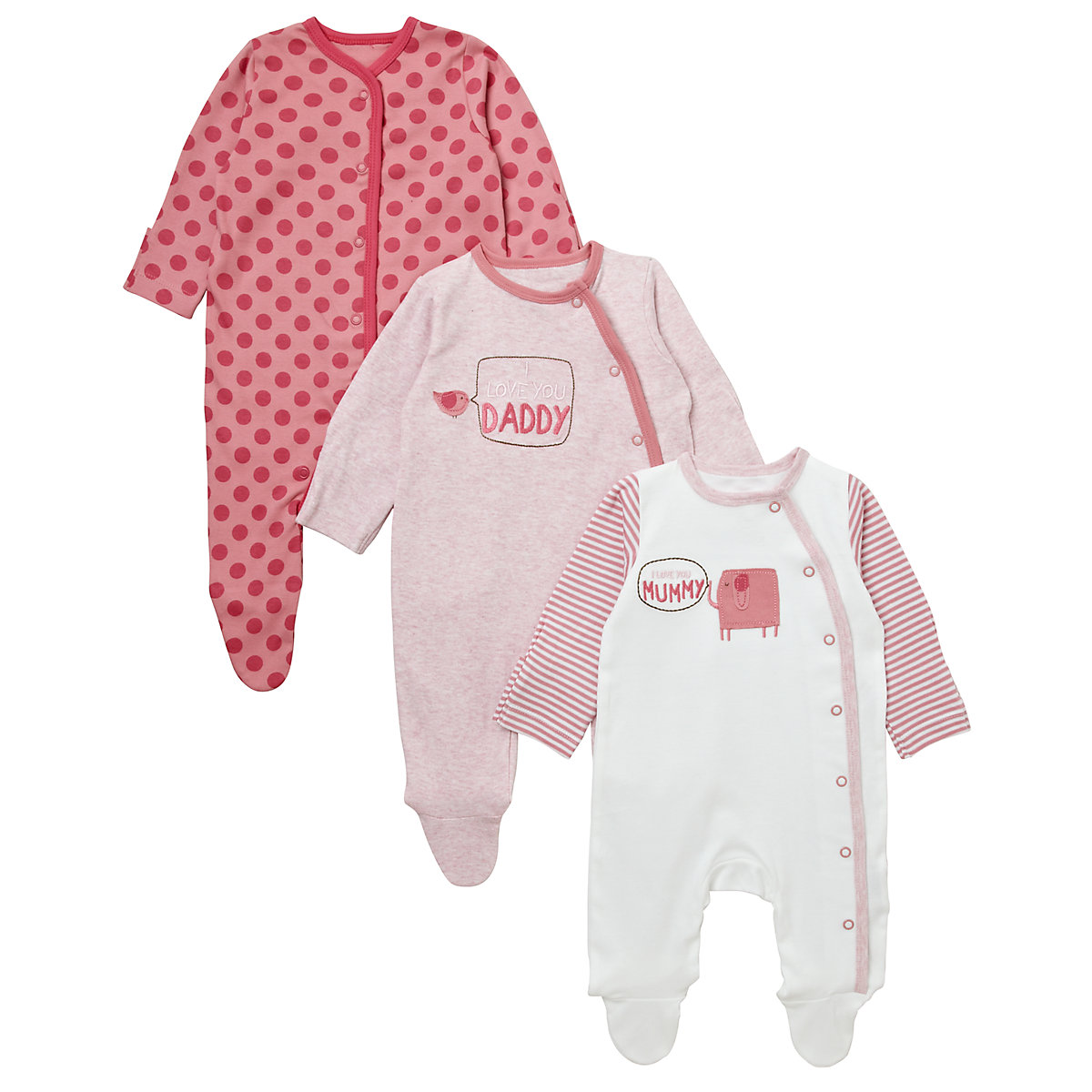 Mothercare Pink Mummy and Daddy Sleepsuits- 3 Pack