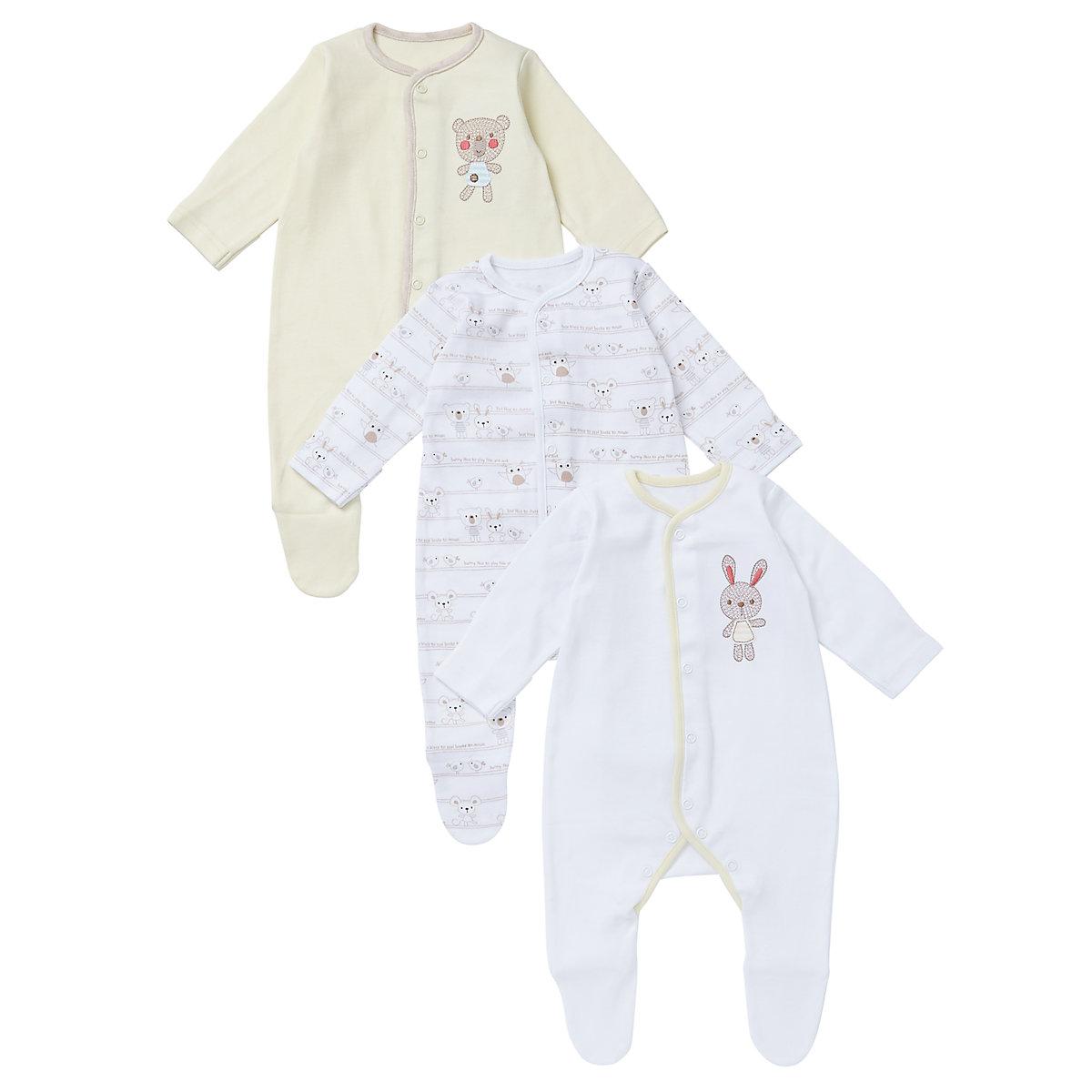 Mothercare Newborn Sleepsuits- 3 Pack